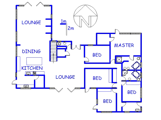 Floor plan of the property in Loevenstein