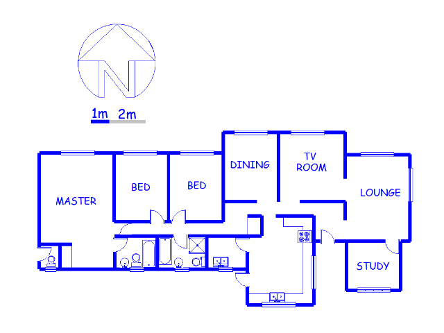 Floor plan of the property in Eersterust