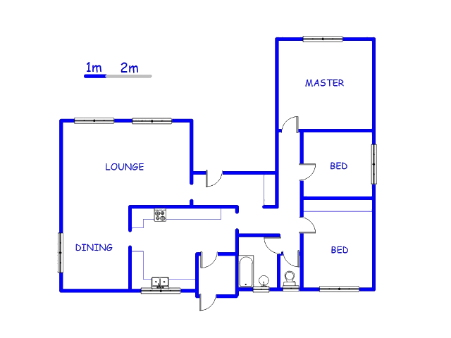 Floor plan of the property in Komati