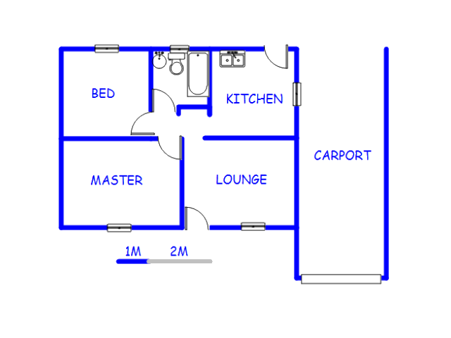 Floor plan of the property in Riverlea - JHB