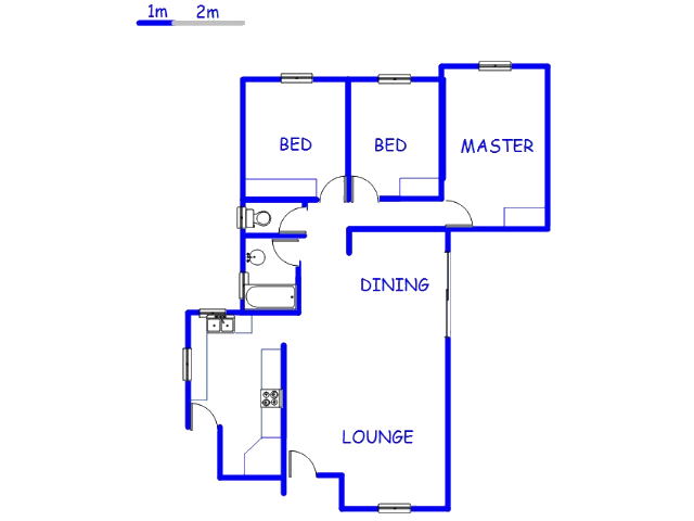Floor plan of the property in Sophiatown