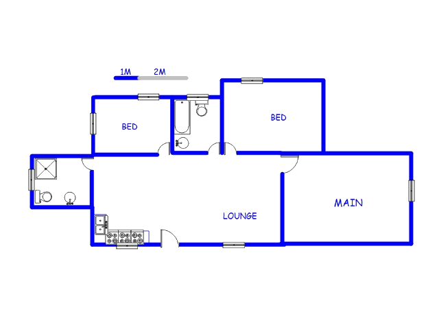 Floor plan of the property in Elandspoort