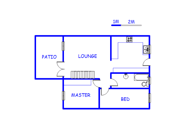 Floor plan of the property in Van Riebeeckpark