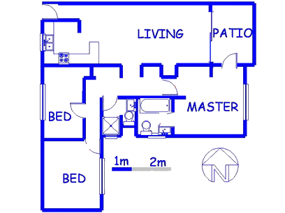 Floor plan of the property in Waterkloof Glen