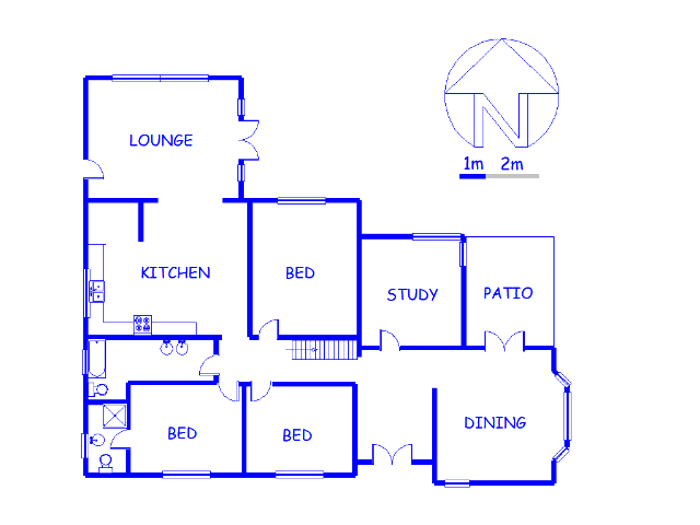 Floor plan of the property in Tiegerpoort