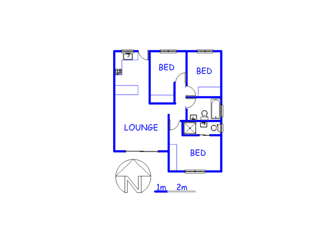 Floor plan of the property in Muizenberg