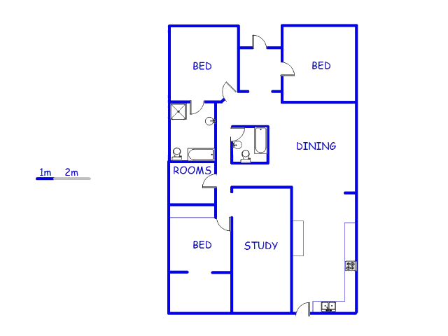 Floor plan of the property in Sydenham - JHB