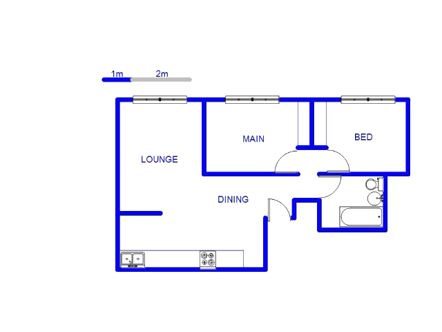 Floor plan of the property in Ferreiras Dorp