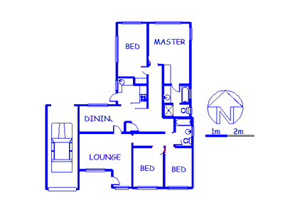 Floor plan of the property in Claremont - JHB